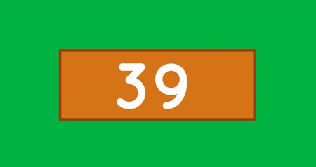 numerais : Animation of an orange box with numbers count increasing. The background is green 4k