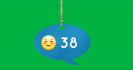 numerais : Animation of a chat bubble hanging from a thread with a smiling face emoji and number count increasing 4k