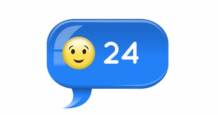 koppeling : Animation of blue chat bubble with a smiling face emoji and numbers counting up. The background is white 4k