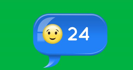 significado : Animation of a blue message notification bubble with a winking emoji and an increasing number. The background is green 4k Stock Footage