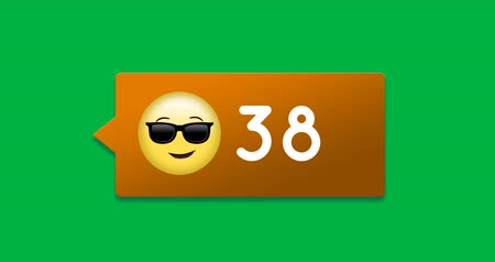 houding : Animation of an orange box with smiling face sunglasses emoji and numbers count increasing. The background is green 4k
