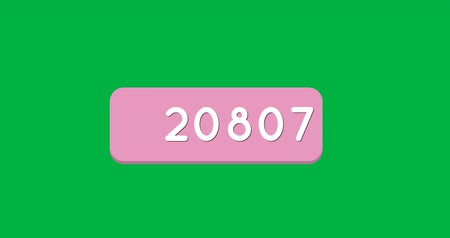 카운트 다운 : Animation of a pink box with numbers count increasing. The background is green 4k 무비클립