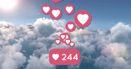 representação : Digital animation of a heart button count increasing. Heart icons are flying upwards on a sky background 4k