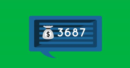 centavo : Animation of counting numbers and money bag in a blue striped chat box on a green background 4k
