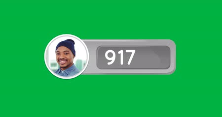 influence : Animation of counting numbers in a grey box and a cropped photo of a black man wearing a beanie hat on a green background 4k