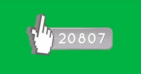 youtube : Animation of a pointing finger icon inside a grey count bar with increasing number count. The background is green 4k