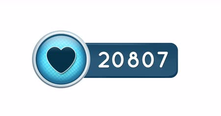 emoji : Animation of a blue like or heart button increasing in numbers. The background is white 4k