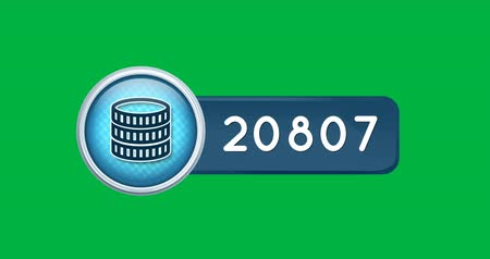 монета : Animation of a coins icon inside a blue count bar with increasing number count. The background is green 4k Стоковые видеозаписи