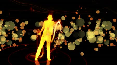 michael : Digital animation of a silhouette Michael Jackson dance with swirling bright lights effect. The background is dark Stock Footage