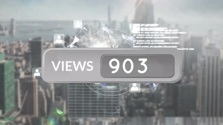 redes : Animation of a grey views count bar with increasing number count. The background a cityscape