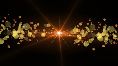 Digital animation of a bright light and bokeh light effects in a black background.The light is moving while the bokeh lights grows larger Stock Footage