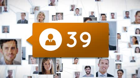 inbox : Digital composites of pictures of men and women in the back of an orange chat box with numbers on a white background. The pictures are moving while the numbers are counting