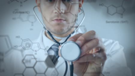 bonds : Close up of a Caucasian doctor using a stethoscope. Chemical equations are running in the foreground