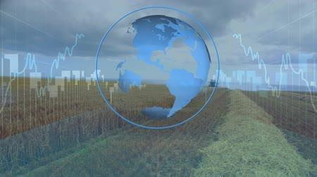 выигрыш : Digital animation of a rotating globe with graphs and statistics. The background is a wide angle of an agriculture field