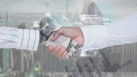 kifinomult : Digital animation of a handshake between a businessman and a robot wearing business clothes. Th background is cityscape with graphs and statistics.