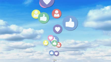 representação : Animation of like, follow and heart icons flying upwards with a bright cloudy sky background