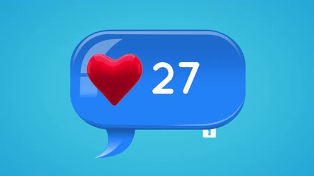 representação : Animation of a heart t icon inside a blue message bubble with increasing number count. The background is blue filed with icons