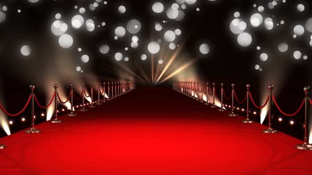 premier : Digital animation of a red carpet walkway with bright beams of lights and bokeh light effects