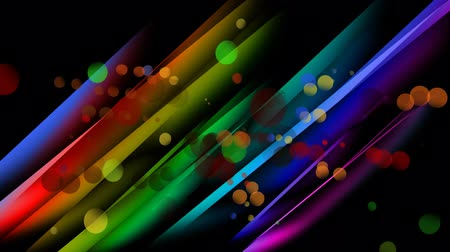 penna : Digital animation of colourful light bubbles moving in the centre of a colourful stripped background