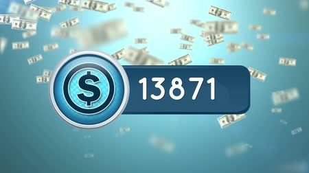 経済の : Animation of a dollar icon inside a blue count bar with increasing number count. The background is blue with dollar bills flying upwards