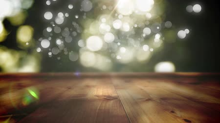 heavenly : Low angle of a wooden plank platform with a blurry background of the outdoors Stock Footage