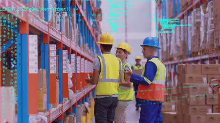 engradado : Front view view of workers, wearing hard hats, checking items on shelves in a warehouse. The foreground is filled with interface codes Stock Footage