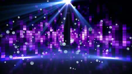 기어 오르는 : Digital animation of a dance floor filled with blinking purple screens and a shining disco ball above the dance floor 무비클립
