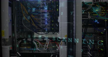 detection : Panoramic view of data server center with warnings of cyber attack from a computer screen. 4k