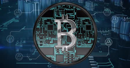 gastos : Front view of a silver bitcoin sign with background of computer circuit board graphic. 4k
