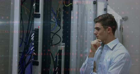 detection : Half-body view of a technician holding his chin and looking through a data server rack with cyber crime warning from a computer screen. 4k Stock Footage