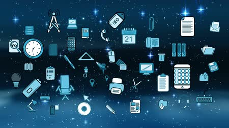 coisas : Random vector icons about office and work management in a starry night background Stock Footage