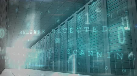 detection : A rapid panoramic view of a data center with binary codes and malware detection warning from a  computer screen. Stock Footage