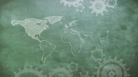 times : A sketch of world map and moving cog gear wheels on top and bottom of the screen. Stock Footage