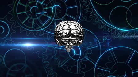 lobe : Lateral view of a metallic silver human brain rotating with cog wheels animation zooming in towards the screen. Stock Footage