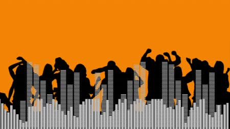 siluety : Silhouette view of party people dancing, moving white digital bars and equalizer in orange background