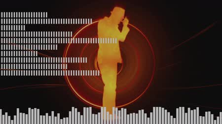 hiphop : Digital animation of a dancing man in hiphop inside a red circle in upbeat. White digital bars and equaliser moving as foreground Stock Footage