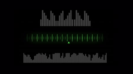 wizualizacja : Digital animation of three examples of media visualisation arranged on top of each other in a black background. Moving wide digital bars on top, digital scale on the middle, and narrow digital bars at the bottom Wideo