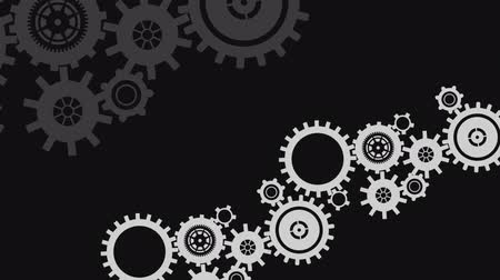 vector : Digital animation of various rotating white and gray industrial gears in black background