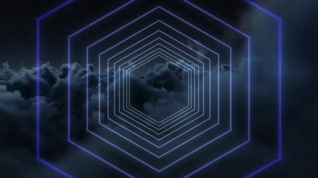 digitalmente : Digital art of a blue to purple hexagon moving on top of each other in a night sky background Stock Footage