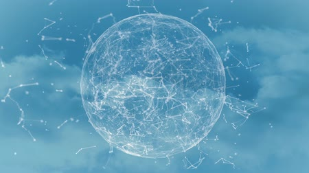 disperso : 3d animation of transparent sphere filled with scattered seamless loops of blockchain over the moving sky.