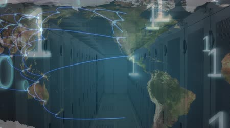 širokopásmové : Digital animation of a rotating map with moving network lines in every country. Random white binary digits moving downward Dostupné videozáznamy