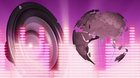 wizualizacja : Digital animation of a rotating 3d world in grid on the right, and a large speaker in beats on the left with random digital bars in neon lights on a pink background