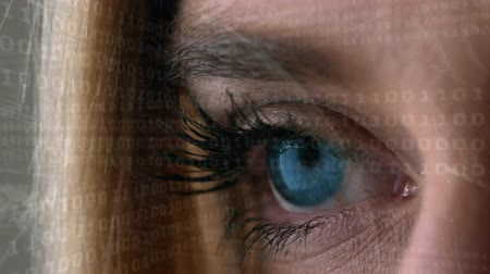 mathematic : Close-up view of a female right eye opening with a series of moving binary digits as foreground