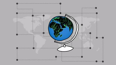 deck chairs : Sketch animation of a rotating globe that transforms into a blinking light bulb with earth drawing on a grayscale map background with connecting dash lines