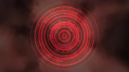 wizualizacja : Digital animation of a focusing lens concept using concentric circles with random animation on a red cloudy sky background