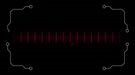 wizualizacja : Digital animation of a moving measurement line in the middle on a black background. Sketch animation of four digital lines with circle on each ends at the four edges