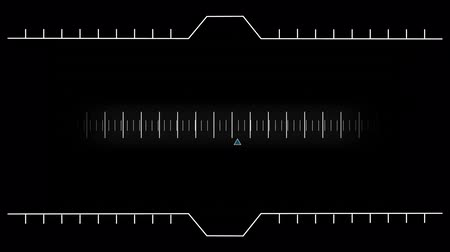 wizualizacja : Digital animation of a moving measurement line in the middle on a black background. Forming animation of two digital abstract lines at the top and bottom Wideo