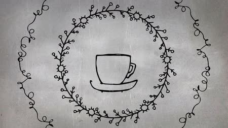 dikenli : Sketch animation of a hot coffee mug with two concentric circles around in thorny and scribble patterns, on a gray background Stok Video