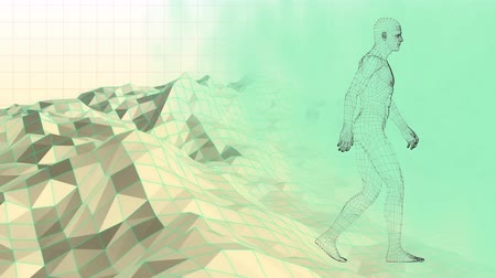 wizualizacja : Digital animation of a 3d man walking over a moving digital mountain ranges with a lake on a lime green background
