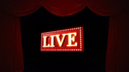 wizualizacja : Digital animation of the word LIVE on a moving red rectangular platform surrounded with light bulbs on a black background with draping curtains